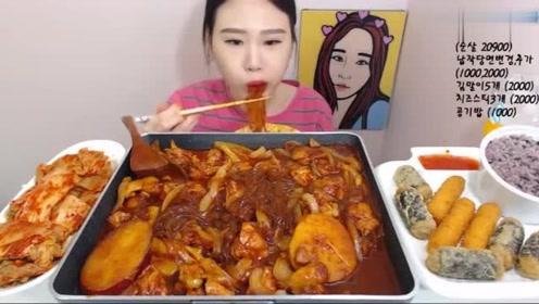 韩国吃播:大胃王妹子吃铁板猪肉炖粉条!这一大锅看着超过瘾!