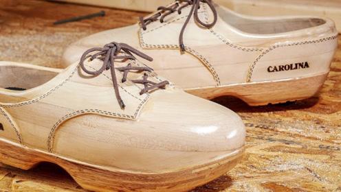 全木制鞋子?国外大神纯手工打造,一百年也穿不烂