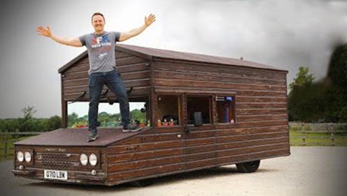 """牛人自制真""""房车"""",木屋装上V8引擎,还能挂牌上路!"""