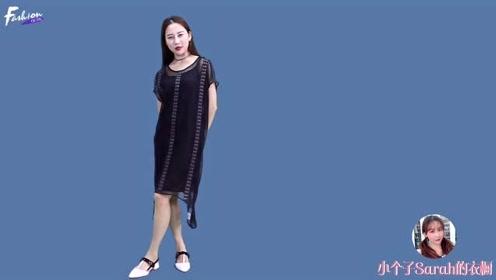 158小个子女生超气质优雅穿搭!网纱膝上连衣裙时髦又显高