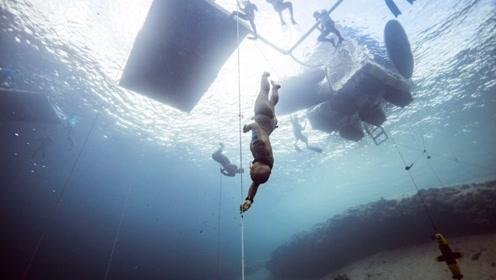 战斗民族的潜水牛人,无氧下潜130米,一举刷新了世界纪录