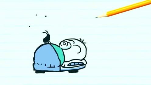 搞笑简笔动画,铅笔人嘴上堵着塞子睡觉,这下不怕爬虫了