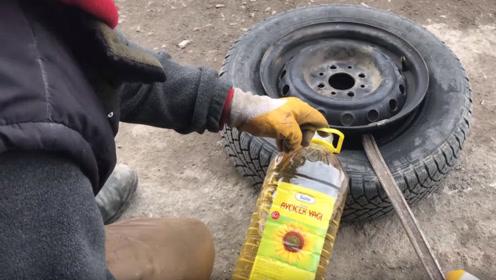老外把食用油灌进汽车轮胎里 ,一脚油门下去,惊喜才刚刚开始!