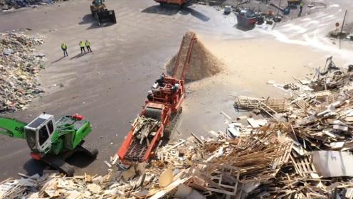"""欧美""""再生板""""制造全过程,原料都是废木板,不需要砍一棵树!"""