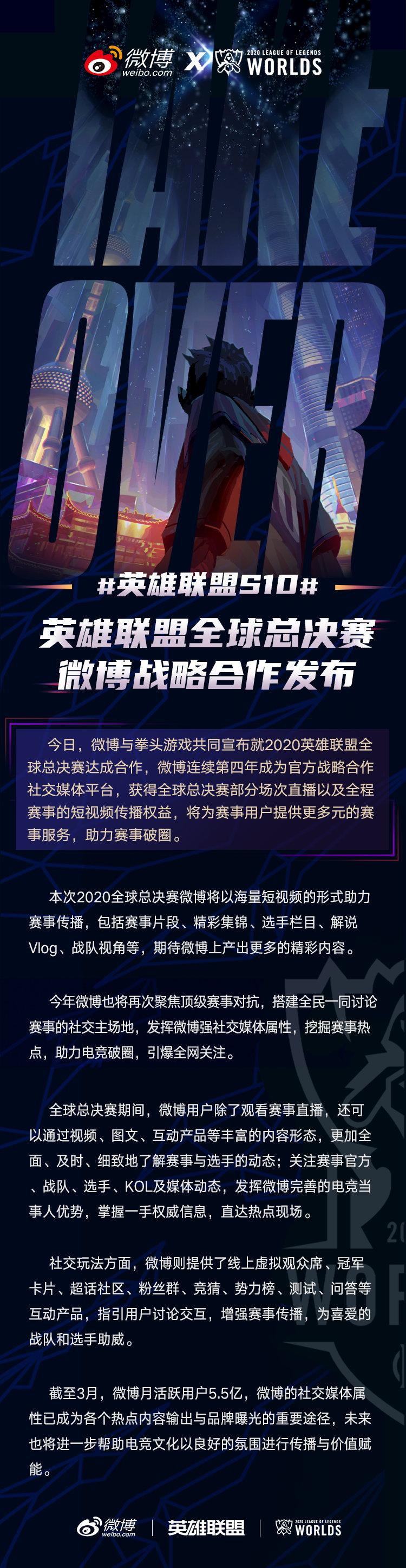 微博连续四年成为英雄联盟全球总决赛官方合作伙伴