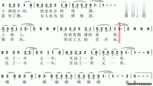 西北风《我热恋的故乡》歌曲有声简谱,学习唱歌还能认识乐谱!