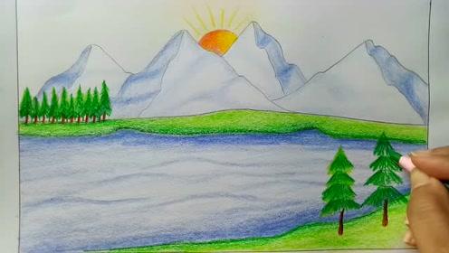 怎樣構思一幅美麗好看的兒童冬日風景畫簡單易學太美了