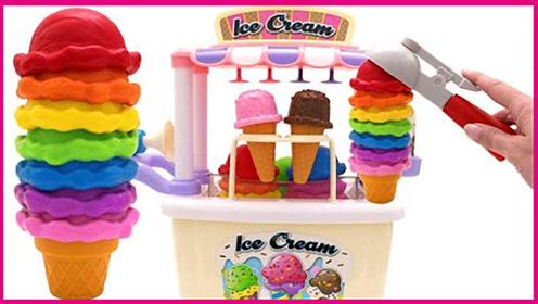 冰淇淋制造机玩具车扮家家 儿童冰淇淋玩具试玩游戏 小猪佩奇