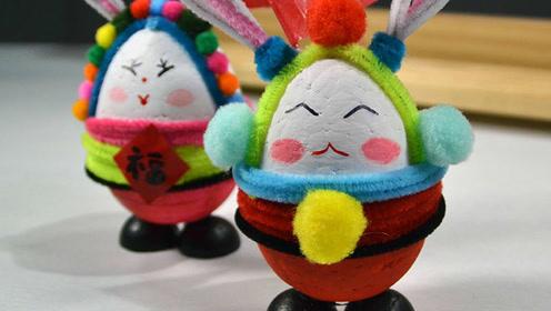 民间传说兔爷儿的制作 儿童创意手工中秋亲子活动手工制作